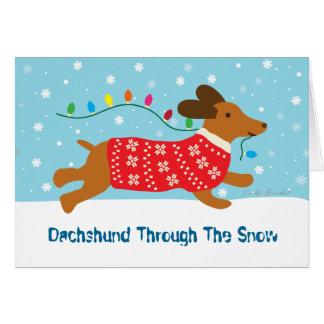 Tarjeta Dachshund con el día de fiesta del navidad de la