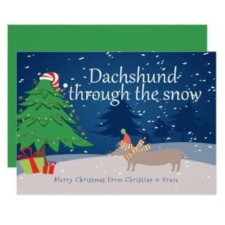 Tarjeta Dachshund con el navidad de la nieve personalizado