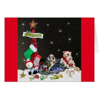 Tarjeta Dachshund en su trineo del navidad