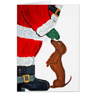 Tarjeta Dachshund y Santa