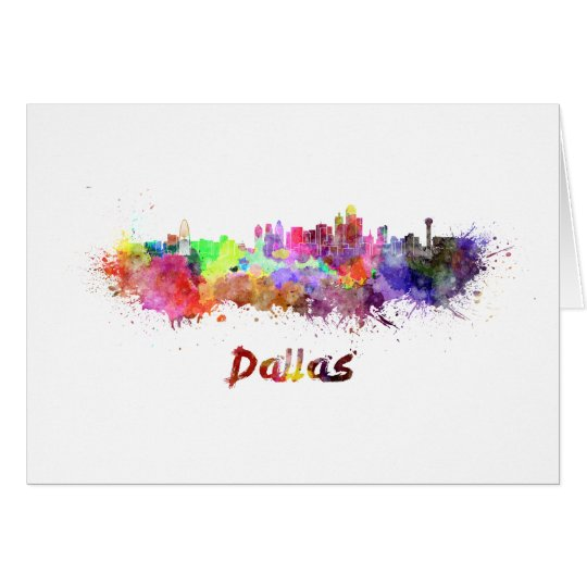 Tarjeta Dallas skyline in watercolor