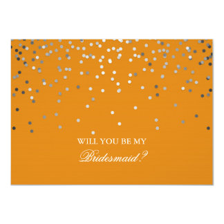 Tarjeta Dama de honor anaranjada del boda del confeti de