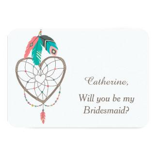 Tarjeta Dama de honor del boda de la pluma de Dreamcatcher
