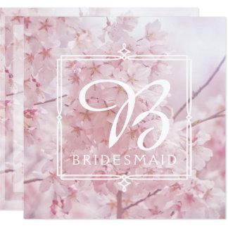 Tarjeta Dama de honor del monograma pálida - flores de