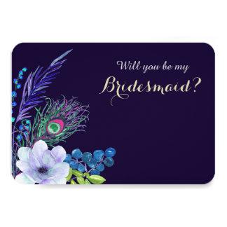 Tarjeta Dama de honor floral azul de la pluma de Boho