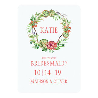 Tarjeta Dama de honor floral del Succulent el | del boda