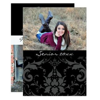 Tarjeta Damasco negro y blanco personalizado 20xx graduado