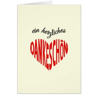 Tarjeta Dankeschon le agradece lengua alemana