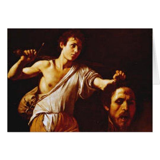 Tarjeta David con la cabeza de Goliat