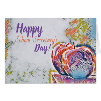 Tarjeta Day Card de la escuela de secretaria feliz