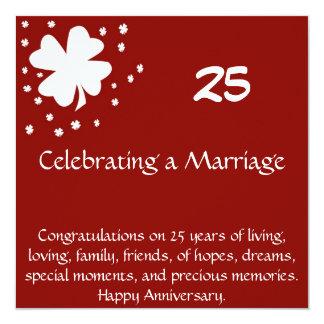 Tarjeta de 25 aniversarios invitación 13,3 cm x 13,3cm