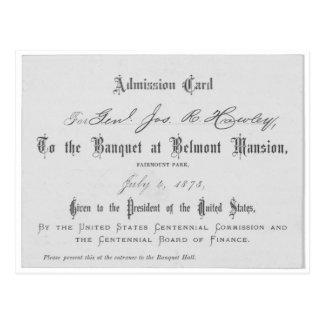 Tarjeta de admisión presidencial de Banquest Postal