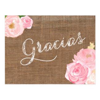 tarjeta de agradecimiento, gracias del arpillera postal