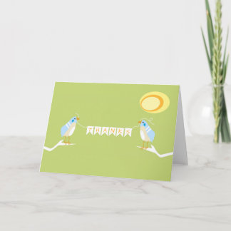 Blue Themed Bird Nature Thank You Card