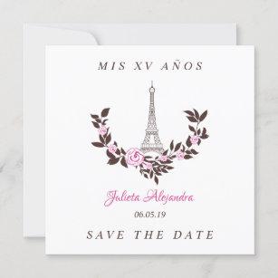 Tarjeta De Agradecimiento Mis Quince Años Diseño Floral París Rosa