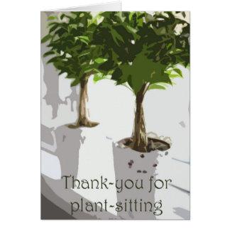Tarjeta De agradecimiento para planta-sentarse