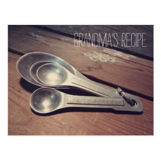 Tarjeta de aluminio de la receta de las cucharas