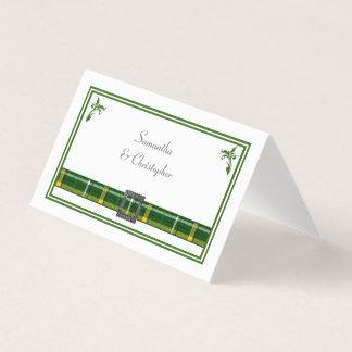 Tarjeta De Asiento Boda verde de la tela escocesa de tartán