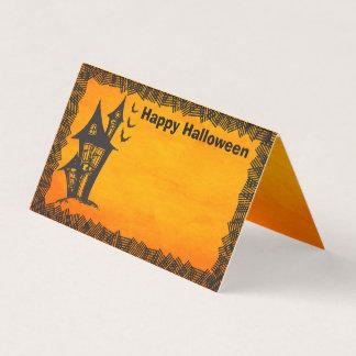 Tarjeta De Asiento Casa encantada de las brujas del feliz Halloween