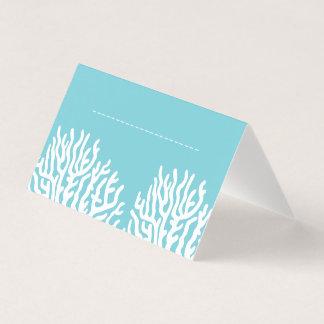 Tarjeta De Asiento Coral costero del mar blanco y nombre azul ciánico