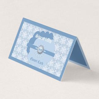 Tarjeta De Asiento Dulce azul en colores pastel décimosexto w/Bl BG