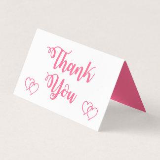 Tarjeta De Asiento El boda rosado y blanco del corazón le agradece