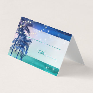 Tarjeta De Asiento El lugar tropical del boda de playa carda las