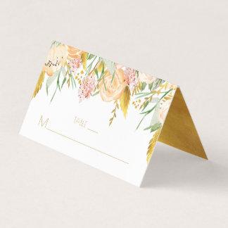 Tarjeta De Asiento La acuarela rosada del oro del melocotón florece