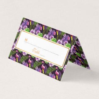Tarjeta De Asiento Modelo tropical púrpura negro de la acuarela de la