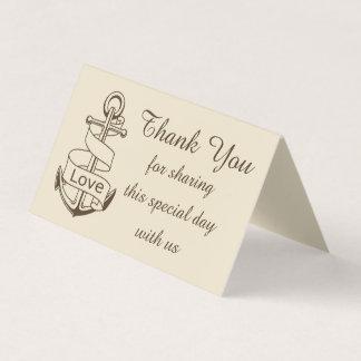 Tarjeta De Asiento Náutico gracias enviar amor del boda de Brown del