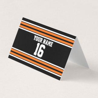 Tarjeta De Asiento Nombre de encargo anaranjado negro del número del