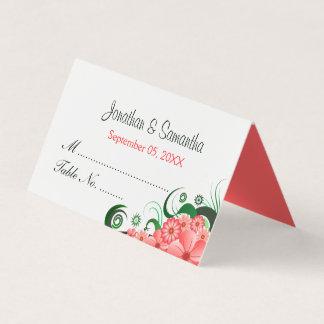 Tarjeta De Asiento Tabla doblada blanco rosado floral con clase del