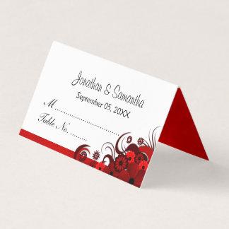 Tarjeta De Asiento Tabla doblada floral con clase del hibisco rojo y