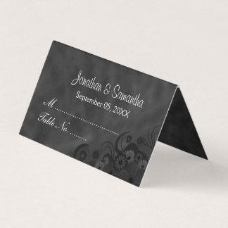 Tarjeta De Asiento Tabla doblada floral del hibisco negro de la