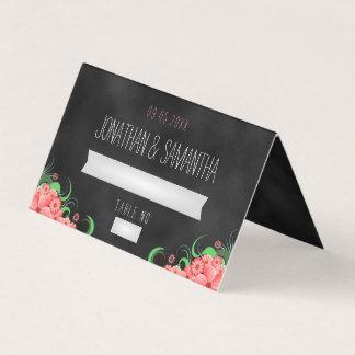 Tarjeta De Asiento Tabla doblada rosa floral negro del hibisco de la