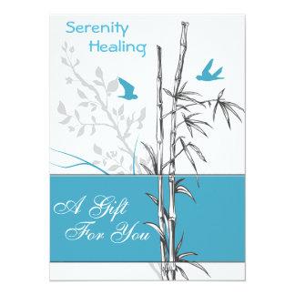 tarjeta de bambú y azul del vale de los pájaros