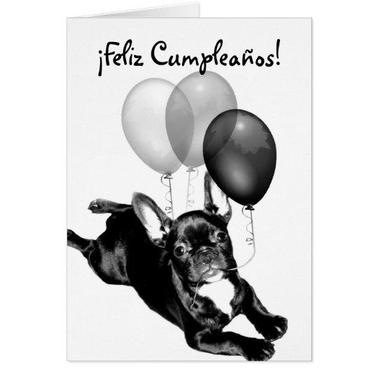 Tarjeta de Bulldog Frances de Feliz Cumpleaños