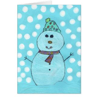 Tarjeta de Chrismas del muñeco de nieve de Alicia