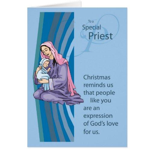 Tarjeta de Christams del sacerdote con Maria y el