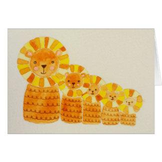 Tarjeta de cinco pequeña leones