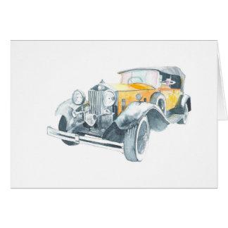 Tarjeta de coche amarilla vieja del vintage