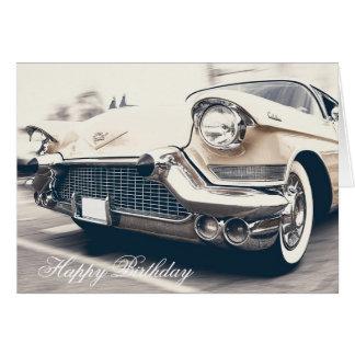Tarjeta de coche retra del vintage del feliz
