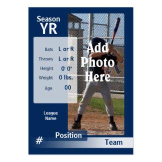 Tarjeta de comercio de encargo del béisbol en azul tarjetas de visita grandes