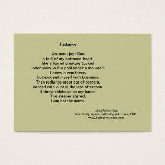 Tarjeta de comercio de la poesía de la resplandor