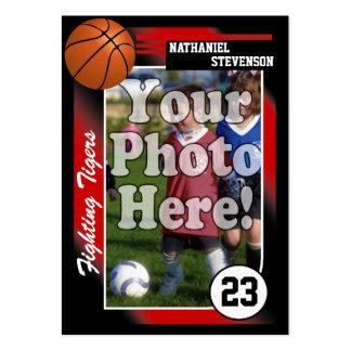 Tarjeta de comercio del baloncesto, tamaño rojo de tarjetas de visita grandes