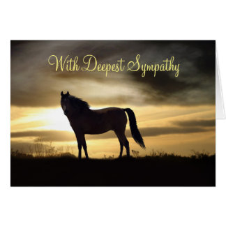 Tarjeta de condolencia con el caballo y salida del