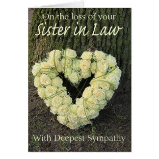 Tarjeta de condolencia de la cuñada con los rosas
