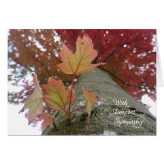 Tarjeta de condolencia de las hojas de otoño