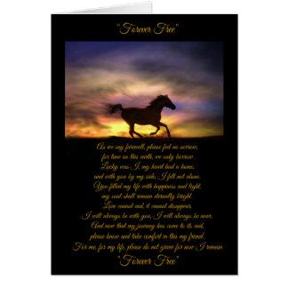 Tarjeta de condolencia del caballo con el poema