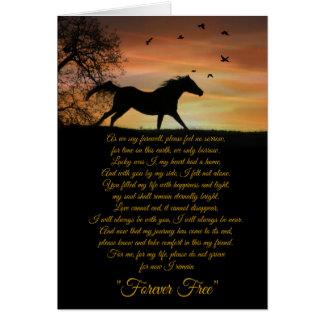 Tarjeta de condolencia del caballo, pérdida de